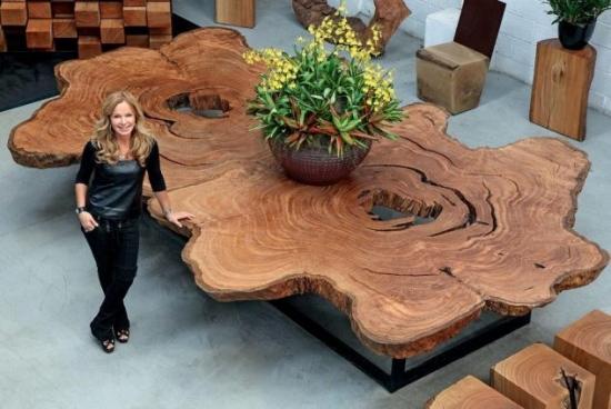 Masa si scaune rustice din lemn masiv