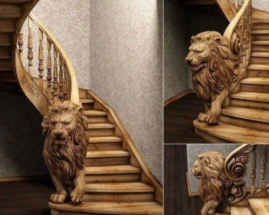 Balustrada cu leu sculptat