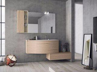 Mobilier suspendat din lemn pentru baie