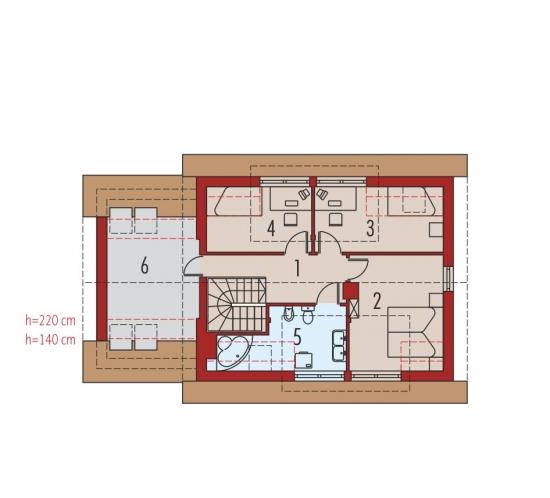 Casa cu 3 dormitoare la etaj si unul la parter