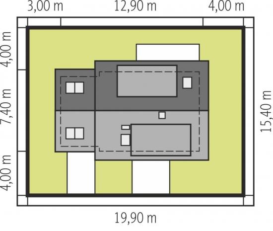 Model de casa ingusta cu latime de 7.4 metri