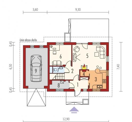 Plan parter casa cu 4 dormitoare si mansarda
