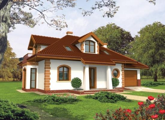 Model casa de vis cu mansarda si garaj - suprafata 120 de metri patrati
