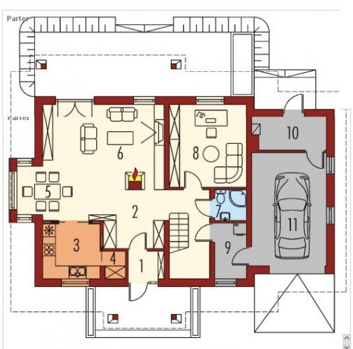 Parter casa cu living si bucatarie in aceasi camera