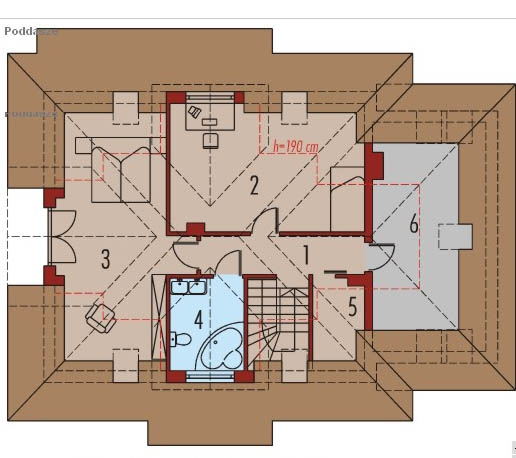 Plan casa cu 2 dormitoare la mansarda