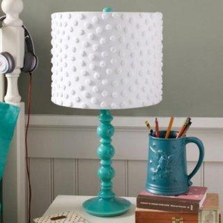 Lampa de masa cu abajur alb si picior turcoaz
