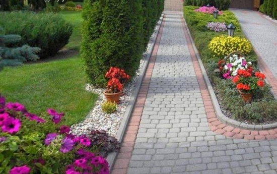 Curte cu alee cu rond de flori in mijloc