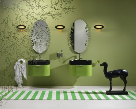Decor de baie moderna cu dulap  verde si lavoar negru