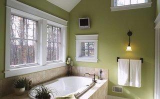 Pereti verzi si cada placata cu piatra decorativa