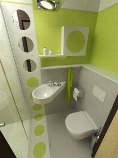 Verde lime alb si gri combinatie de culori pentru o baie mica si moderna