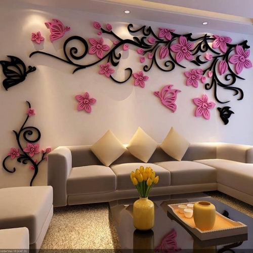 Reprezentare grafica 3 D living cu ornamente pe pereti
