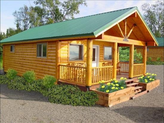 Cabana din lemn de pin cu noduri