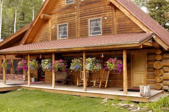 Cabana din lemn rotund acoperita cu carton presat