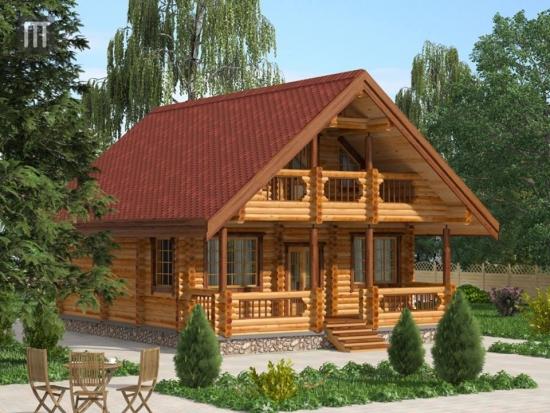 Casa din lemn cu sarpanta in doua ape si lucarna