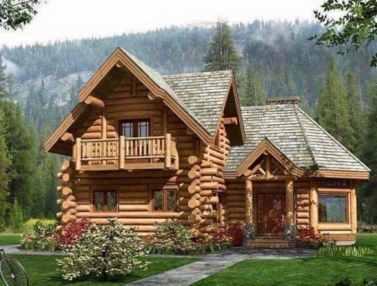 Casa din lemn in L cu acoepris cu sindrila lemn