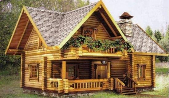 Casa din lemn rotund calibrat