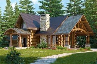 Casa din lemn rotund cu mansarda