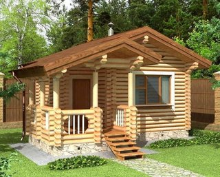Casa mica rustica construita din busteni
