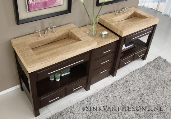 Chiuveta de baie din travertin si dulap de baie din lemn wenge