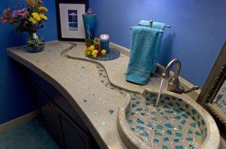 Mozaic folosit pe suprafata chiuvetei