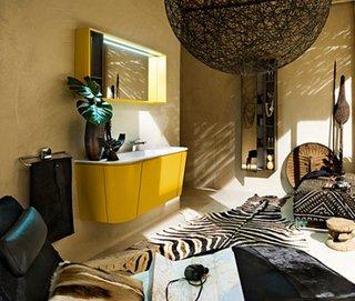 Mobilier pentru baie dulap plus oglinda galben aprins pentru un decor modern