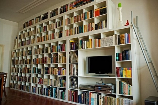 Biblioteca mare pe intreg peretele