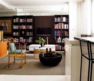 Biblioteca wenge cu consola pentru TV incorporata