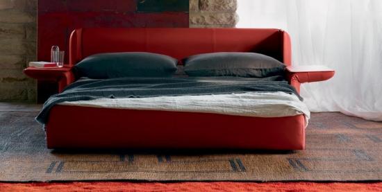 Canapea moderna din piele rosie model extensibil