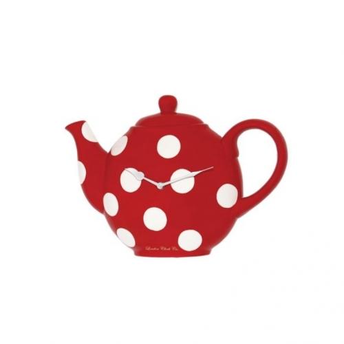 Ceainic rosu cu buline albe model de ceas de perete pentru bucatarie