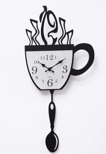 Ceas de perete sticker din vinil cana de cafea