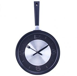 Model de ceas de perete tigaie din plastic transformata in ceas de bucatarie