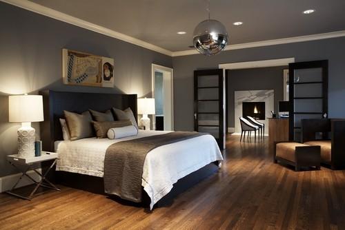 Glob mare argintiu in dormitor modern