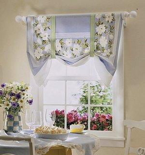 Perdea scurta bleu cu model floral alb