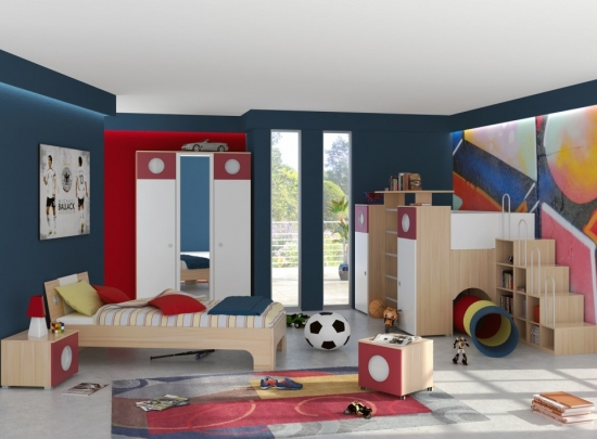 Idee de amenajare a unui dormitor de copil cu covor dreptunghiular asortat cu nuanta peretilor dulap