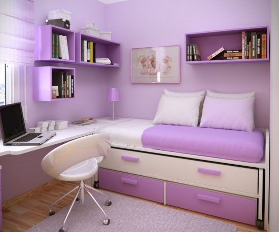 Mobilier de dormitor pe colt mov cu alb pentru o camera de adolescenta