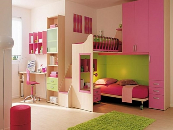 Set de mobilier de dormitor pentru copii compact design modern si covor shaggy verde