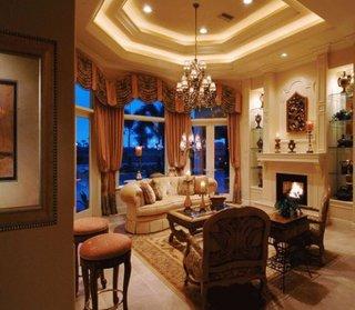 Idee de amenajare sufragerie cu tavan fals si spoturi