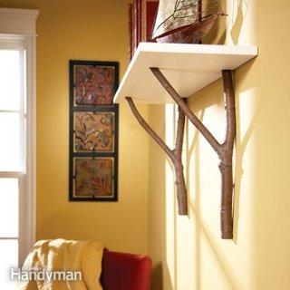 Crengi de copac suport pentru etajere