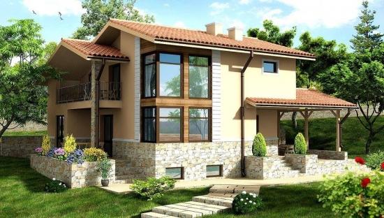 Casa cu fatada cu piatra si terasa acoperita lipita