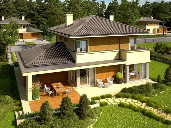 Casa cu fatada de lemn