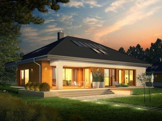 Casa moderna placata cu lambriu de lemn pentru exterior