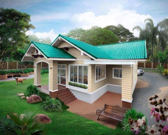 Casa placata la exterior cu lambriu PVC crem si acoperis albastru