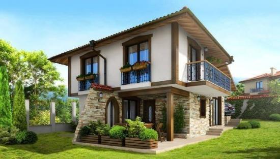 Fatada casa cu etaj alba cu parter placat cu piatra decorativa