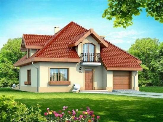 Fatada casa cu tencuiala decorativa crem