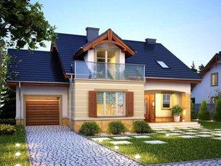 Fatada de casa moderna cu balcon cu balustrada de sticla
