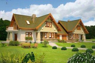 Fatade case insiruite cu acoperis verde
