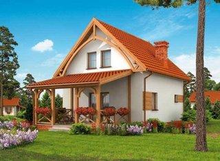 Model de casa cu terasa acoperita anexata