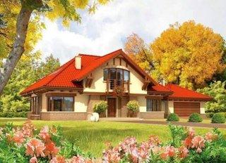 Model fatada casa cu soclu de piatra si acoperis rosiatic