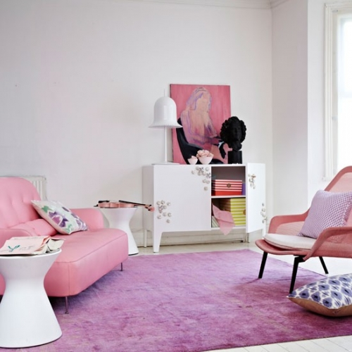 Scaun pentru living roz pastel