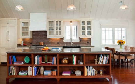 Insula de bucatarie din lemn masiv de cires cu etajere pentru carti